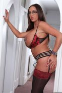 Stockings hottie Emma Butt takes on a big fat cock