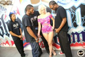 Hung black guys fuck Jenna Ivory and facial her