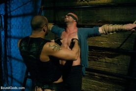 Man with gorgeous body in hard bondage and cbt sex