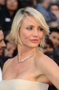 Cameron Diaz looking busty in white glamorous dress at 84th Academy Awards PS