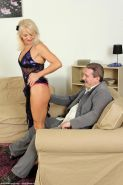 Horny slim mature gets banged in the living room
