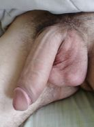 Next door amateur showing his long white penis