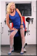 Blonde german mature lady Gina toying with heels