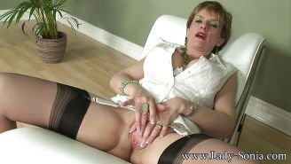 Slutty mature lady in stockings gets dominated and fucked hardco