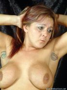 Busty bdsm slave Ginas breast torments and cruel tit spanking