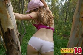 Sweet Young emily all alone in the forest