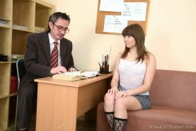 Young student Luna May fucking her old teacher for grades