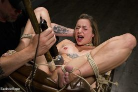 Missy Minks is rope bound and spanked into submission with master vibrating her
