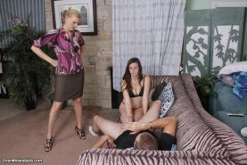 Hot milf Darryl Hanah teaches her daughter handjob