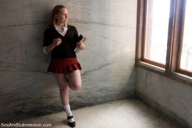 School girl Laci Laine gets fucked in the dungeon by Steve Holmes
