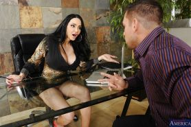 Office glamour lady Amy Anderssen is having her boobies fucked