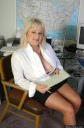 Fat mature blonde slut teasing and playing a dildo in office