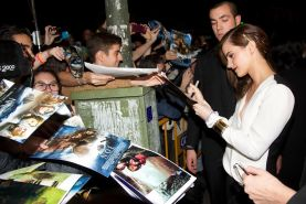 Emma Watson showing cleavage at the 'Noah' Premiere in Madrid