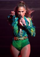 Jennifer Lopez in leotard and fishnets performing at Foxwood Casino in Connectic
