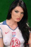 Roxy Panther brunette soccer babe naked usa fan posing with ball