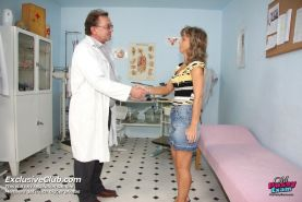Blonde mature Vladimira gyno pussy speculum examination at gyno clinic