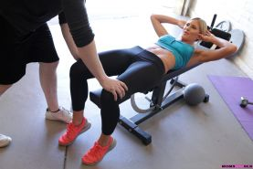Lusty babes Audrey Show and Marry Lynn seduce their fitness inst