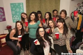 Crazy girls at college party get drunk and film it all