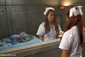 Lea Hart asian nurse is bound and strapon fucked by lezdom colleague Aiden Starr