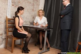 Job interview including an unexpected striptease