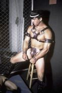 Leather mature muscles sucking and drilling in a dark dungeon