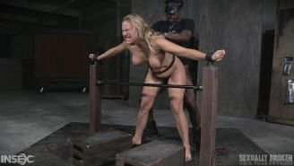 Angel Allwood busty blonde is spread bound and double dicked in
