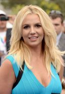 Britney Spears busty showing big cleavage in a blue mini dress at The Smurfs 2 p