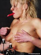 Blonde masochists tit torture and nipple clamp punishment of sub
