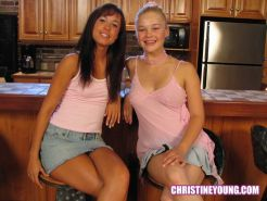 Amazing young lesbians Christine Young and Angie having fun