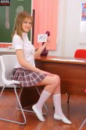Blonde teen Jilova passes first anal exam in the classroom
