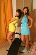 Two horny lesbian teenage chicks playing with big dildos