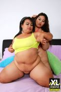 BBW aisnas get naked and show their large bump asses