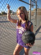Cute teen Melissa and her lovely body getting a little naughty at the basketball
