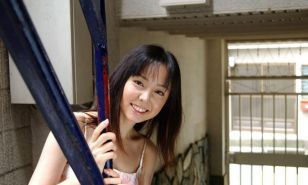 Yui Hasumi asian teen model shows off tits and hairy pussy