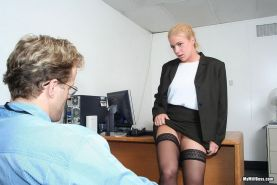 Blonde milf boss Heidi Maine fucked hard in her office