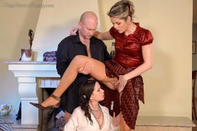 Kinky fully clothed golden shower threesome party in style