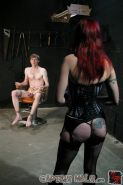 Bound white male getting cbt from stunning high boot Mistress
