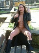 Faye Ramptons pissing in public and crazy milf flashing nude in London with bust