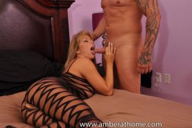 Amber Lynn Bach sucks and fucks a lucky guy on her bed