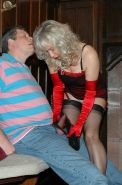 Milf Sue takes cumshot on to her nylons