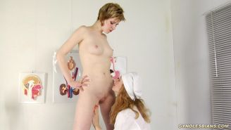 Titillative lesbian touches of a gyno doctor