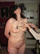 Amateur masochist in tit torture and nipple clamped