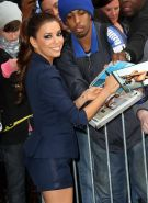 Eva Longoria leggy wearing skimpy shorts  jacket for Letterman's show