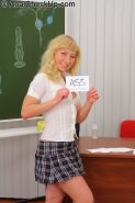 Young blonde Nika Star passes anal exam in the classroom
