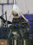 Lady Gaga shows off her ass in thong  pantyhose performing on Jimmy Kimmel Live