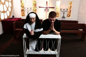 Nun Gangbanged by 5 Priests in Chapel  her First gangbang and DP experience