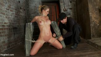 Part 2/4 of Dec. live show with Holly heart:  Elbows bound, knees on hard wood,
