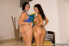 Two brunettes with big asses fucking their hot pussies