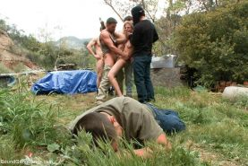 Outdoor BDSM gangbang sex  babe being tied up taken down and fucked hard by a gr #68801120