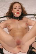 Gagged Audrey Hollander bound with her legs spread and fucked